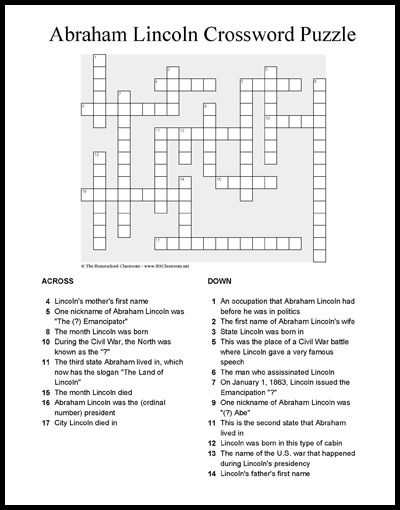 photograph relating to Washington Post Crossword Printable named Abraham Lincoln Crossword Puzzle Printable Supreme