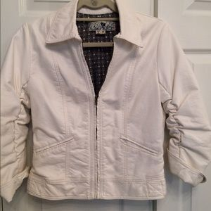 I just discovered this while shopping on Poshmark: Ivory Faux Leather Jacket. Check it out! Price: $44 Size: MJ