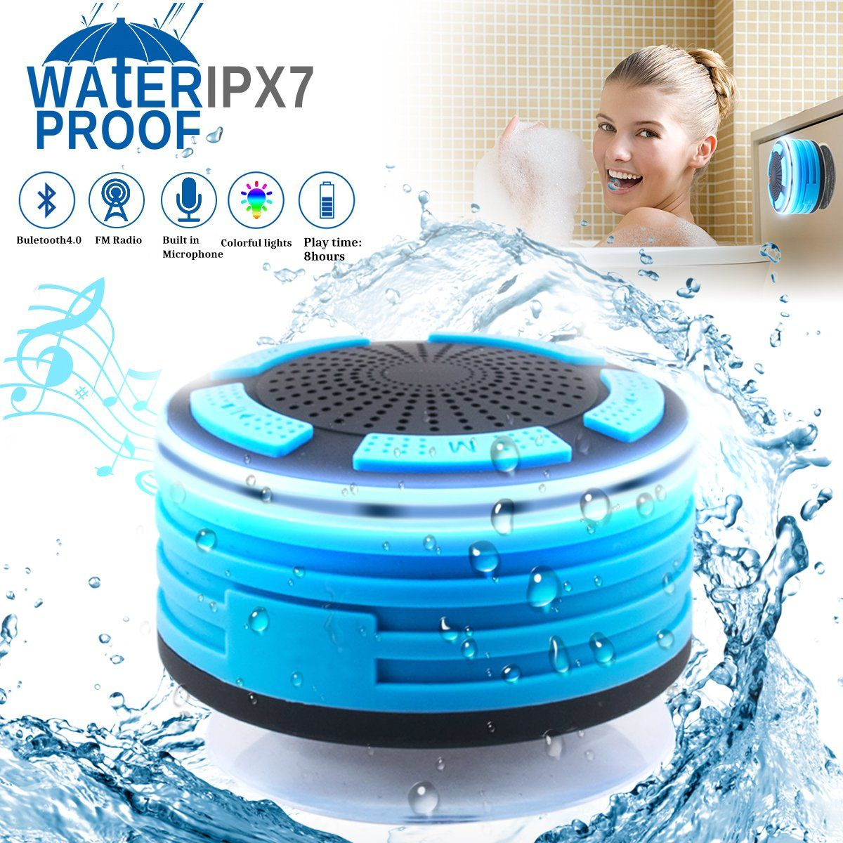 Bluetooth Shower Speaker Waterpoof Shower Radios with ...