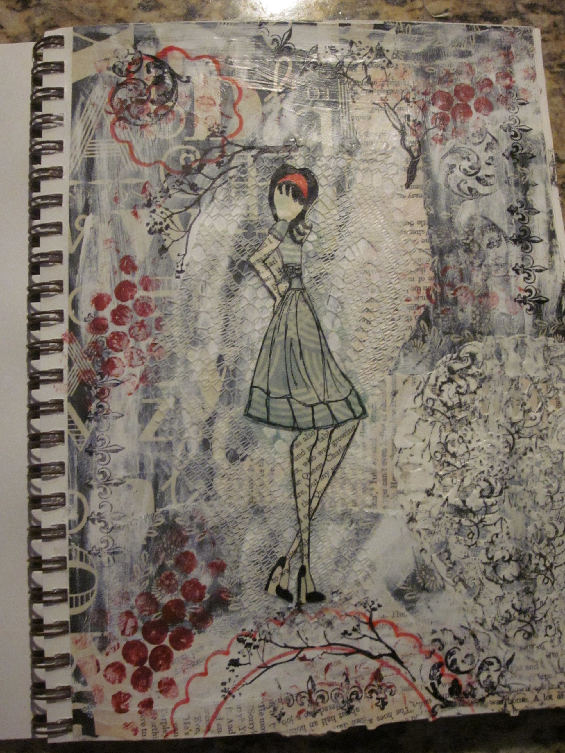 Prima doll mixed media  art journal page