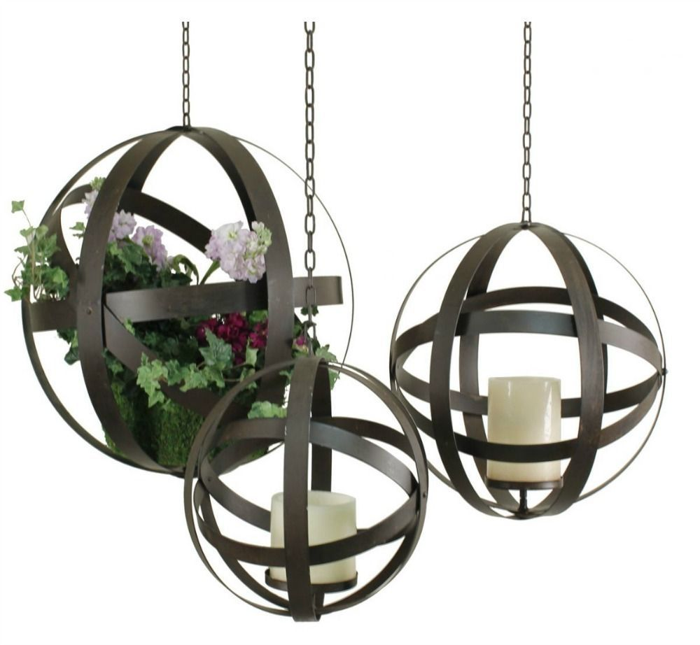 Hanging Candle Holders Planters Garden Orbs Outdoor Lawn Patio Porch Decor  3 PC