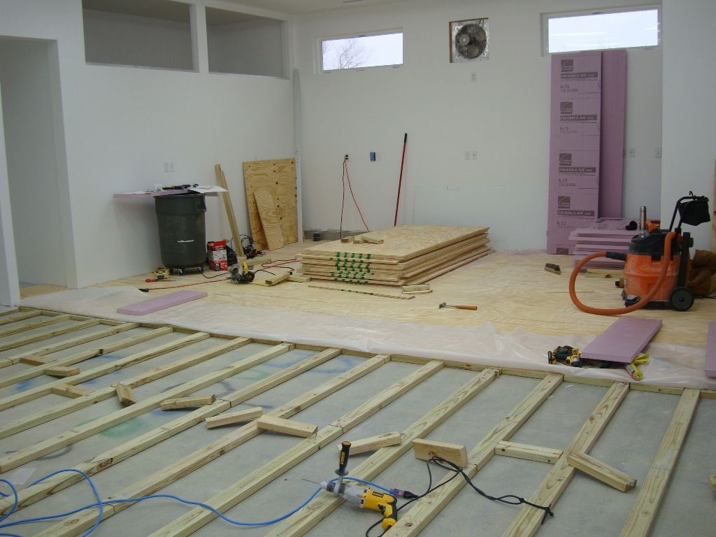 How To Install A Plywood Shop Floor The Wood Whisperer Basement Flooring Options Finishing Basement Flooring