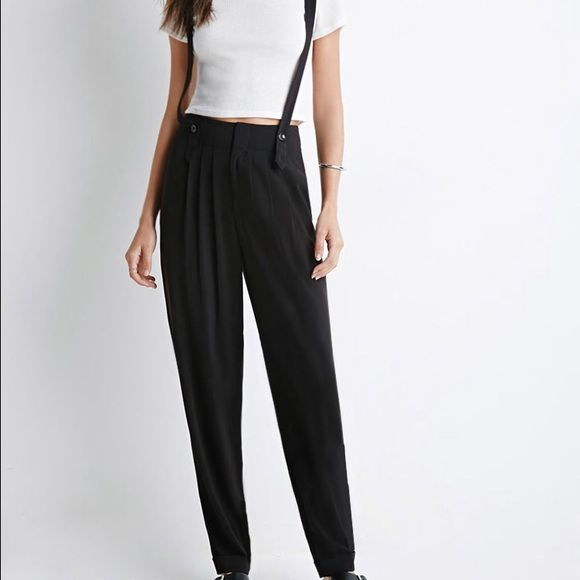 Forever 21 Classic Suspender Trousers Black Trousers