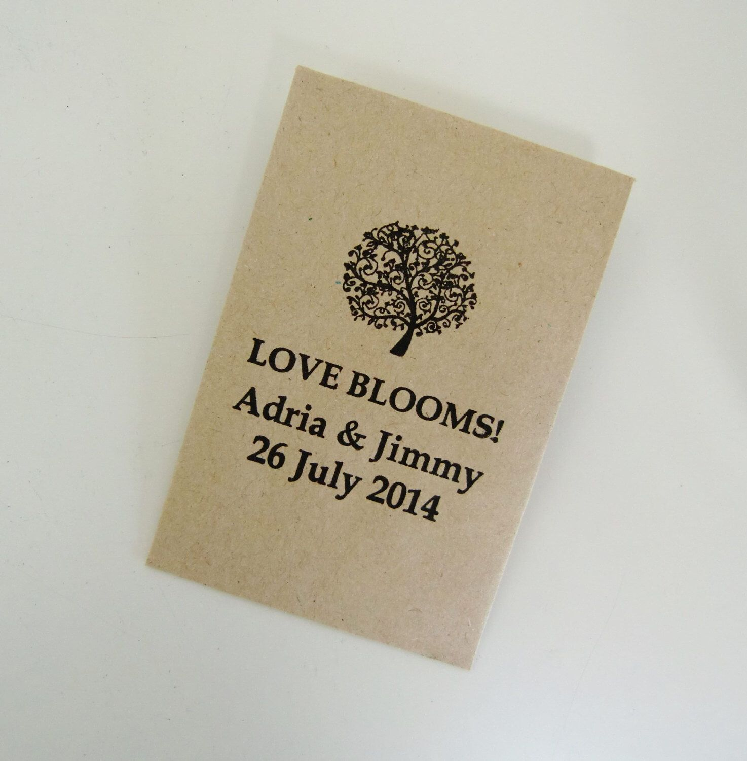 LOVE BLOOMS Rustic Seed Packets Weddin Favors Personalized Packet Wedding Reception Favor Ideas Weddings