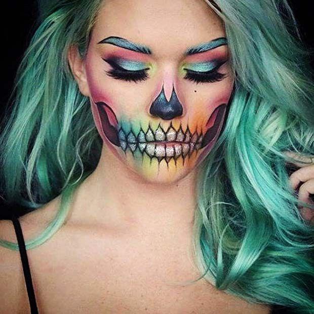 23 Make-up-Ideen für das Skelett für Halloween #makeup