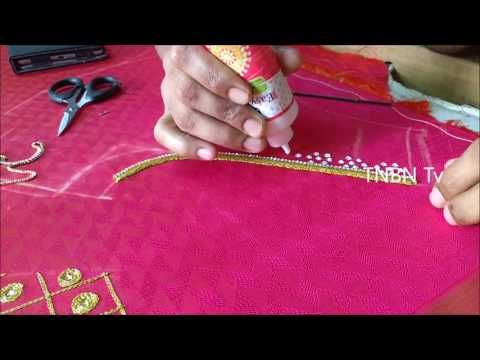 76e4962590 simple maggam work blouse designs | basic embroidery stitches tutorial |  hand embroidery mirror work - YouTube