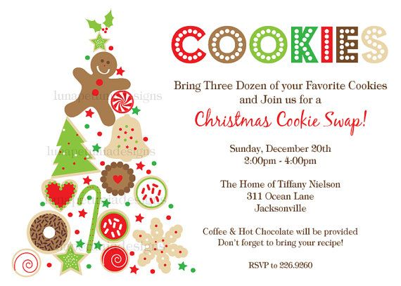 15 Christmas Cookie Exchange Party Invitations Lds Relief Society