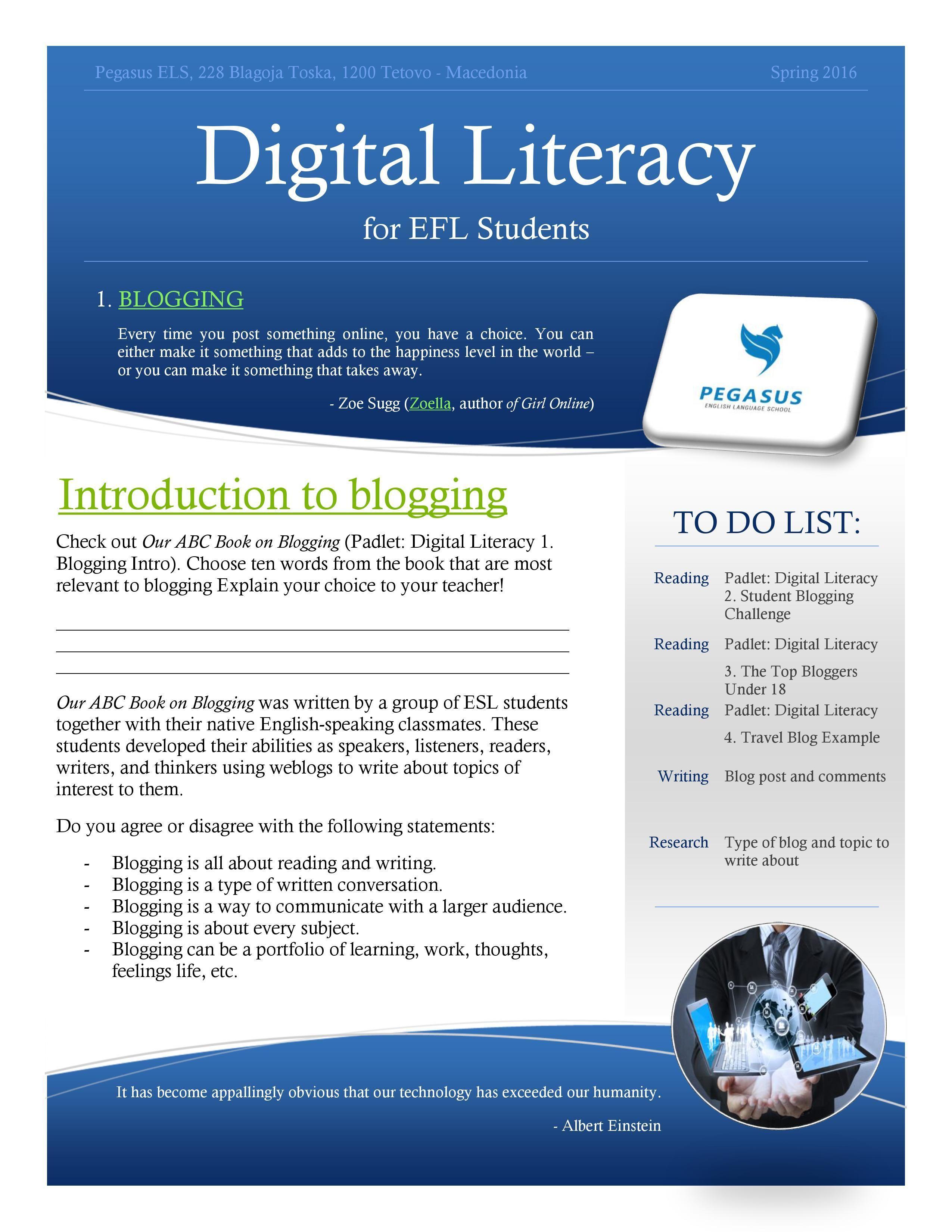 Digital Literacy For Efl Students