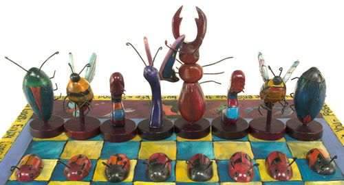 Bugs vs Flowers chess game design - check out other examples to inspire lesson - students design and create their own chess or checkers set