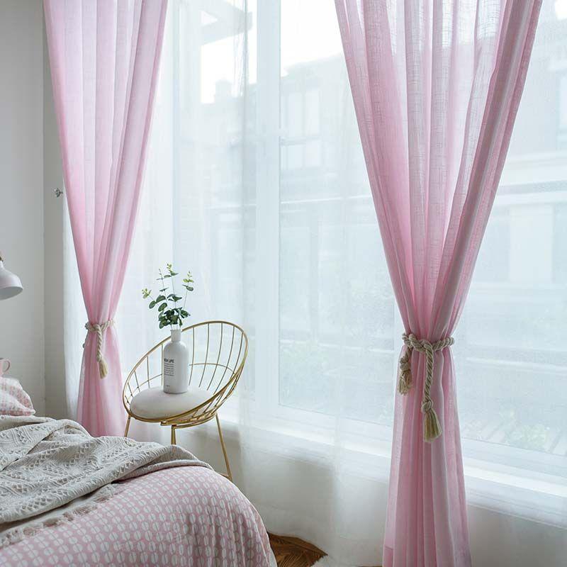 Korean Esthetical Sheer Curtain Simple Pink Sheer Curtain Solid Soft Bedroom Living Room Fabric Pink Sheer Curtains Blue And Pink Living Room Aesthetic Bedroom