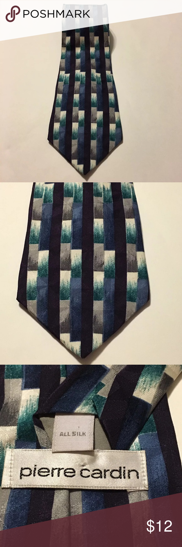"""Pierre Cardin Silk Blue White Silver Geometric Tie Men's Pierre Cardin blue white and silver Geometric block 100% Silk made in the USA Tie. 59"""" long, 4"""" wide. Excellent condition no flaws Pierre Cardin Accessories Ties"""
