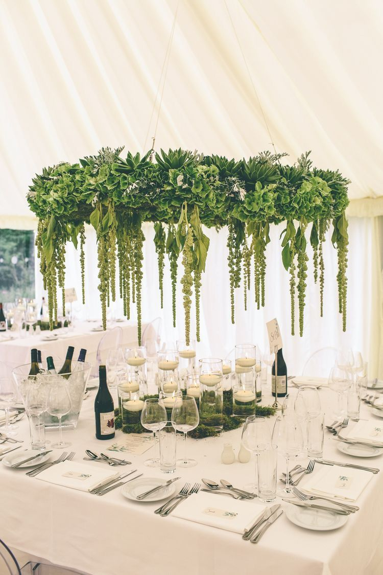 Wedding decorations tent october 2018 Gorgeous greenery hanging installation Hanging chandelier  yes i