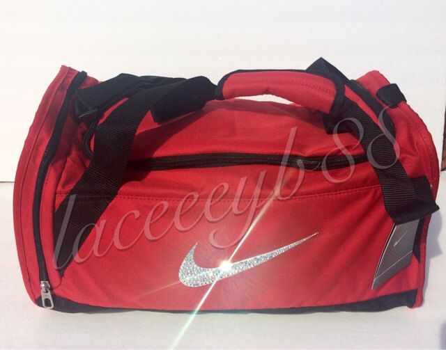 db56c8b4b9 Bling Swarovski Nike Duffle Bag-Red by laceeeyb88 on Etsy https://www