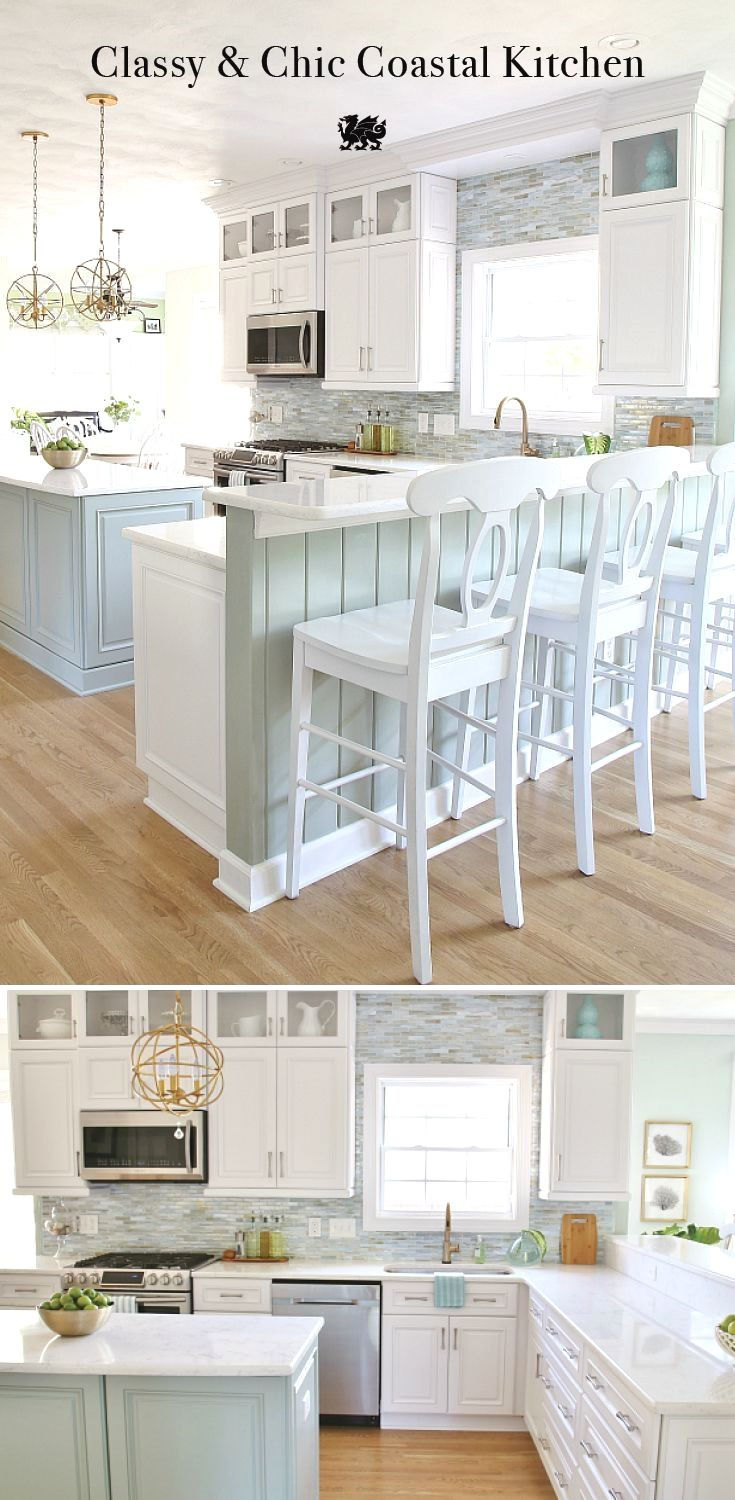 This amazing Coastal Kitchen Makeover has white kitchen cabinets, a ...