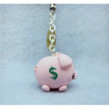 piggy bank,keychain, mobile accesories, fimo, handmade,llavero,colgante de movil,hecho a mano,polymer clay,cerdo,hucha,animal,dinero,money