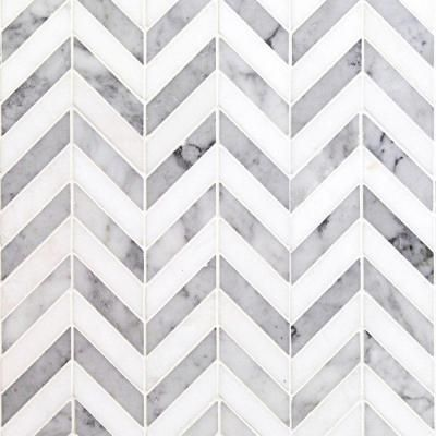 Ivy Hill Tile Dart White Carrara And Thassos Marble Mosaic Tile