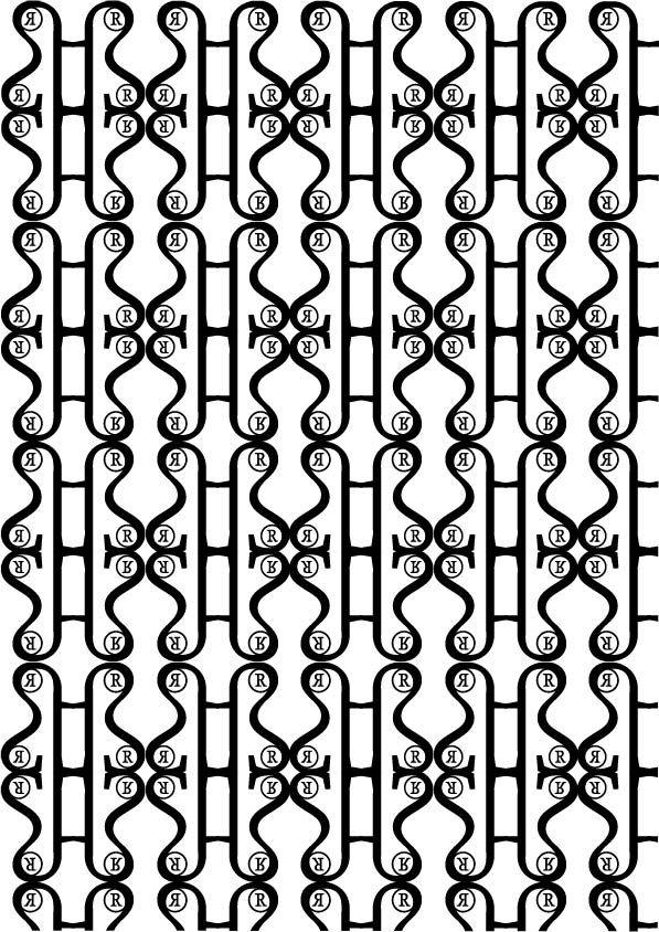 Proforma Bold,Petr van Blokland 1988.Pattern 2 B/N Aggettivo:Elegante La sinuosità della forma del Glifo usato per la struttura del pattern potrebbe ricordare a una farfalla elegantemente posata su una superficie.Glifi utilizzati:®ß.Il glifo ß l'ho scelto per via delle sue linee morbide mi da l'idea di eleganza. L'altro glifo è stata una scelta stilistica.Con questo pattern ho cercato di rendere l'eleganza tramite linee morbide creando così un contrasto con l'eleganza dura e lineare del…