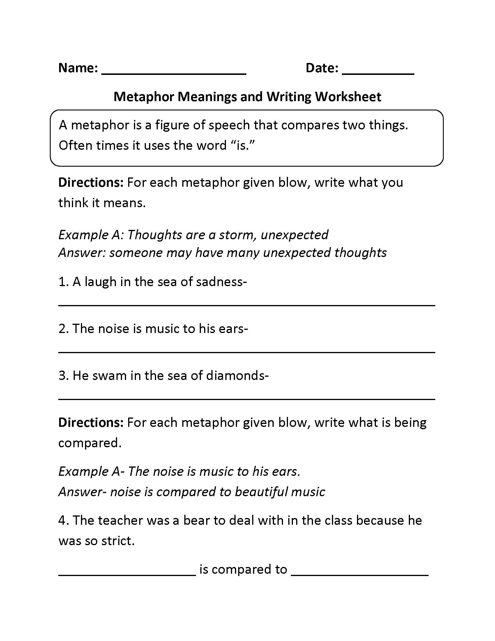 Comparing And Meanings Metaphors Worksheet