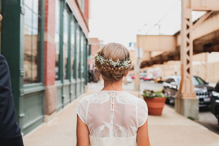A short wedding dress and her braided crown hairstyle | fabmood.com #rooftopwedding #shortweddingdress #weddingdress #bluepumps #blueshoes #bride