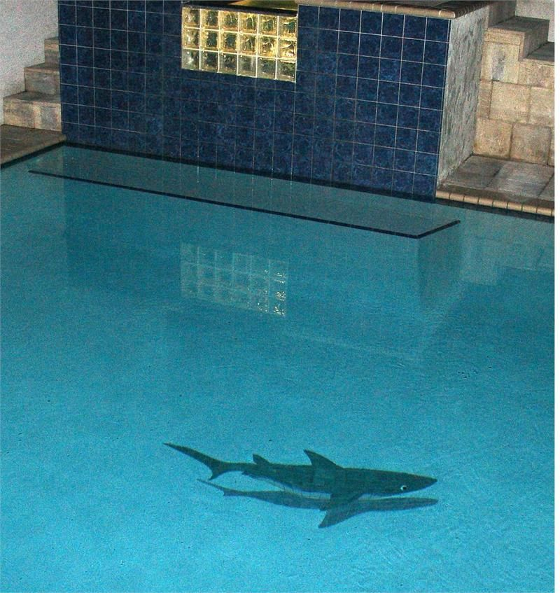 Custom pool tile shark ceramic shadowed shark mosaic for Pool design mosaic tiles