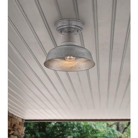 Urban barn 10 14 wide galvanized outdoor ceiling light style galvanized metal is the perfect authentic finish for this barn style indoor outdoor ceiling light aloadofball Image collections