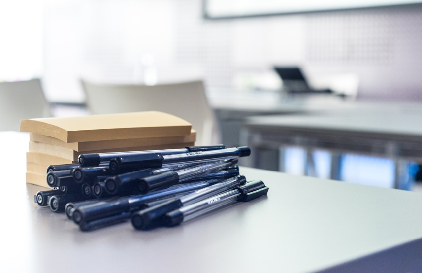 Pens on a desk