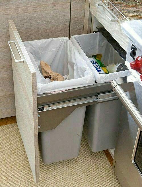 Esconder lixeira da cozinha | Ideias como organizar uma casa ...