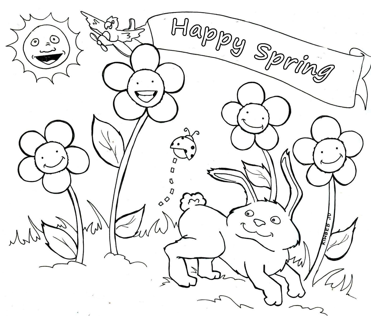 Happy Spring Coloring Pages Kids