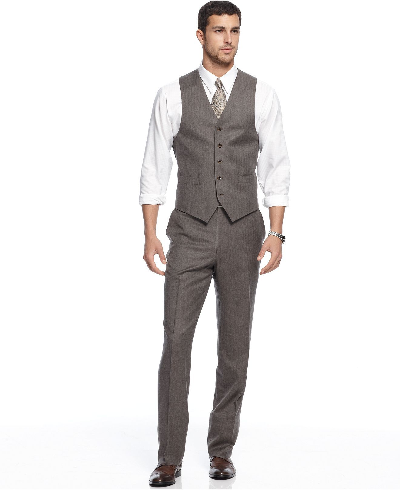 Michael by Michael Kors Suit, Vested Tan Herringbone Flannel Suit ...