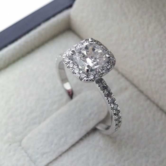 1 75 Ct Cushion Cut Vs Diamond Solitaire Engagement Ring 14k White