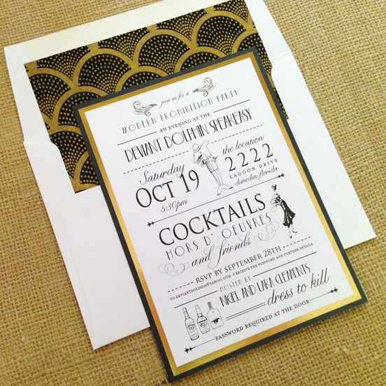 1920s Birthday Digital Printable Invitation Template Art Deco – Art Deco Party Invitations