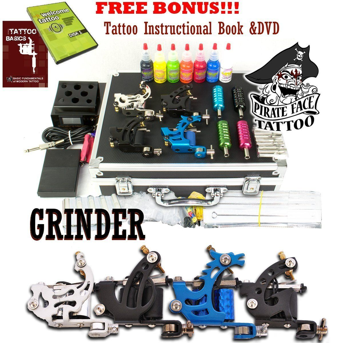 Amazon Com Grinder Complete Tattoo Kit By Pirate Face Tattoo 4 Tattoo Machine Guns Power Supply 7 Tattoo Kits Coil Tattoo Machine Best Tattoo Machines