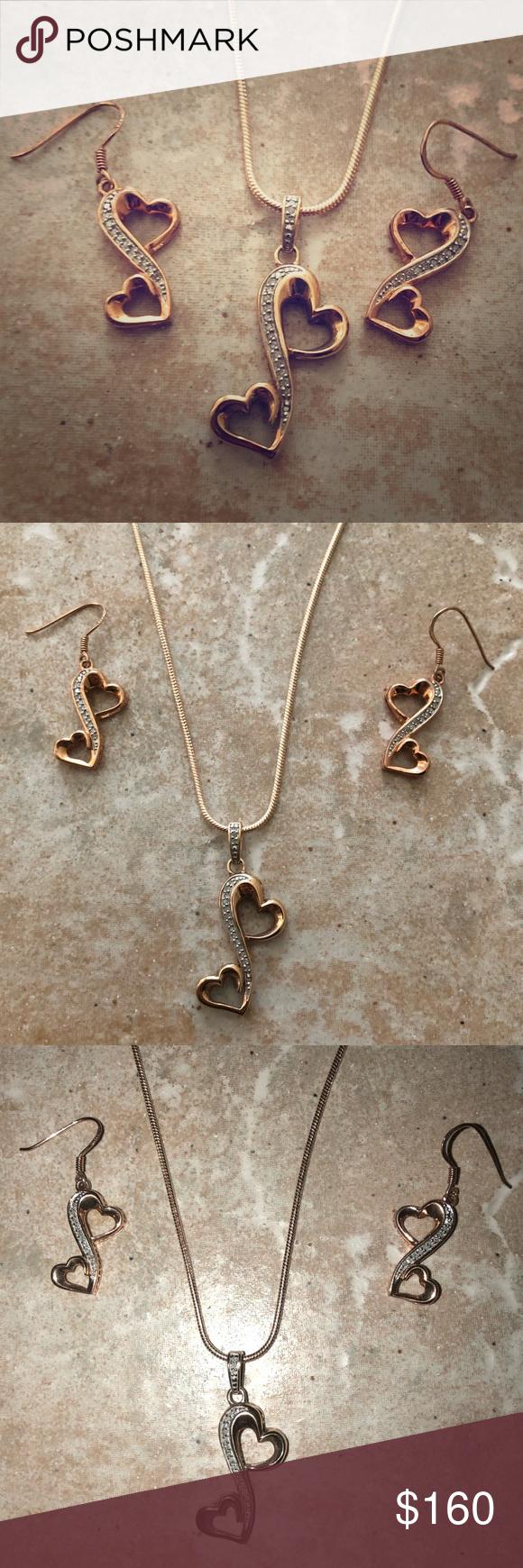 Rose Gold Heart Necklace Earrings Fine Jewelry Set