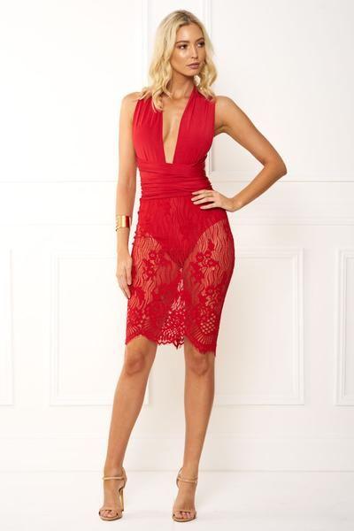 Honey Couture Rania Red Wrap Tie Crochet Midi Dress Crochet Midi Dress Dresses Red Lace Dress
