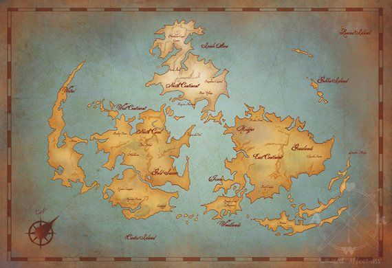 Ff7 Karte.Final Fantasy Vii World Map Vintage Style Game Art Print Gamer