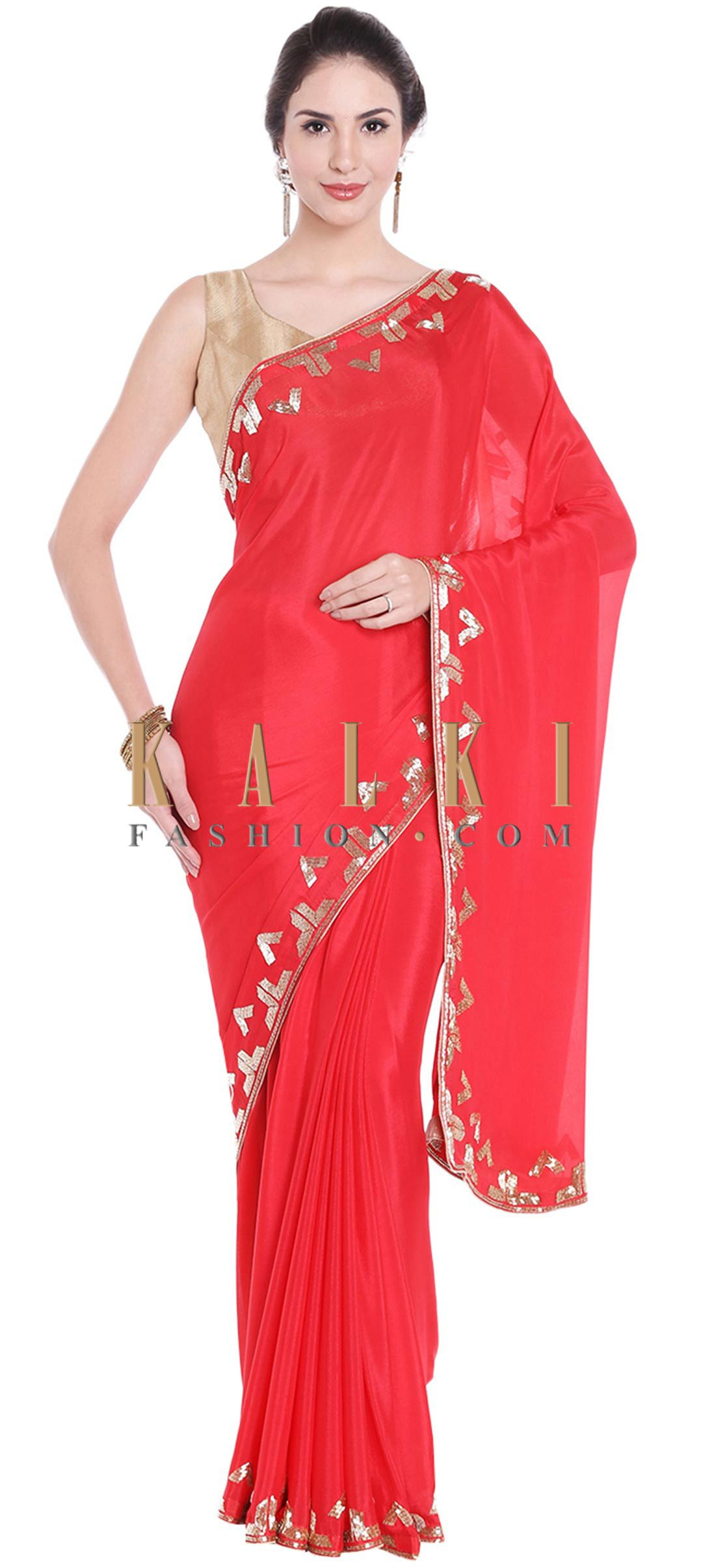 97b29e2bae4c26 Cherry red saree in cut dana embroidered border only on Kalki ...
