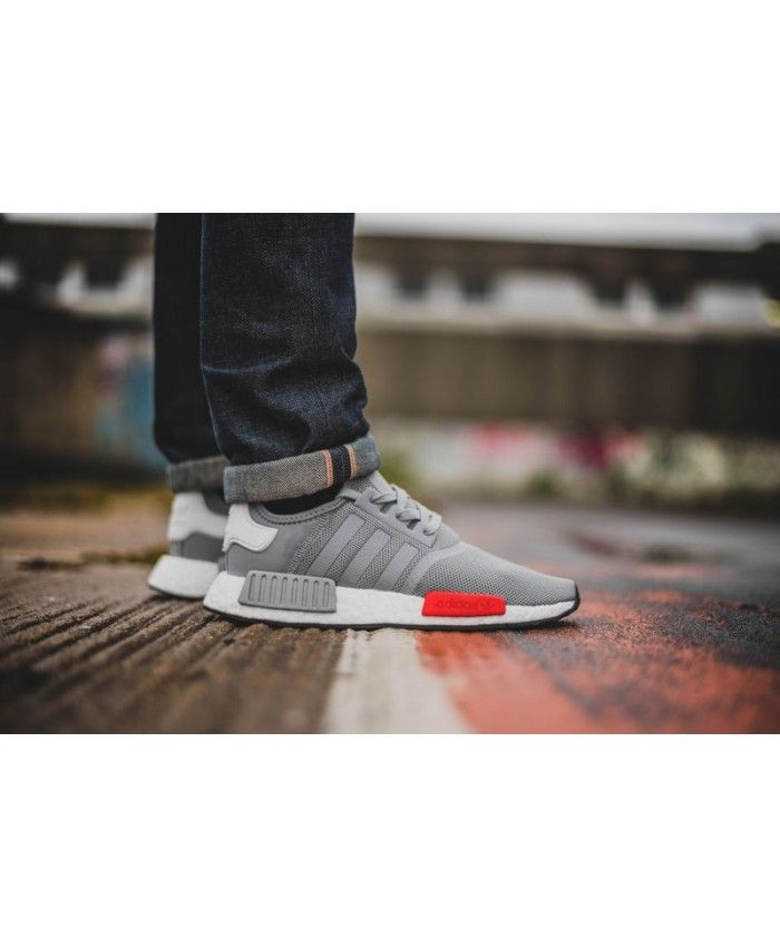 Adidas NMD R1 Mens Wolf Grey Red White Shoe  34a6b3d80