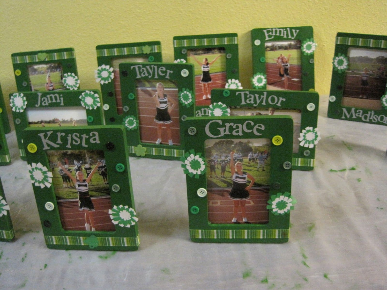 I made these picture frames for my cheerleaders. I simply painted ...