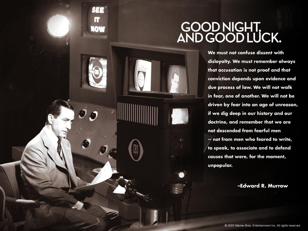 edward r murrow as depicted in good night and good luck the man whose show see it now wildly impacted the end of mccarthys communist trials