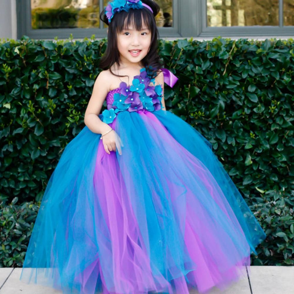 3252b2e5a05 2018 Baby Girl Ball Gown Tutu Dress Hot Sale In INS Flower Fairy Floral  Birthday Wedding Party Blue Flower Girl s Dress 2-14Y. Yesterday s price   US  28.12 ...