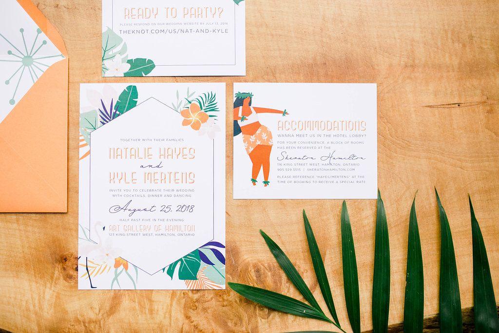 Simply Sealed Tropical Wedding Invitation Retro Wedding