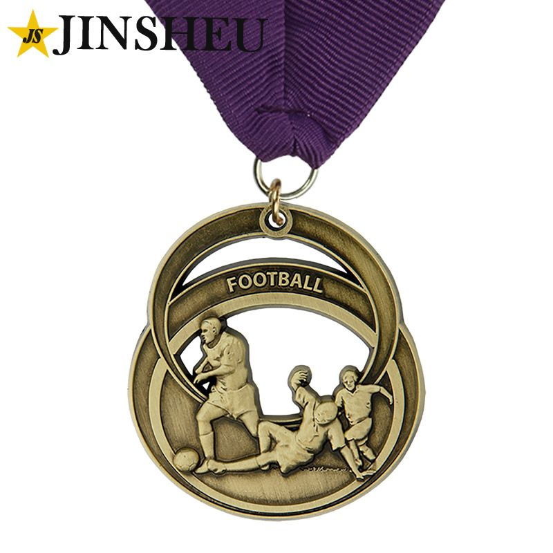 zinc alloy made bronze plated football medals with neck