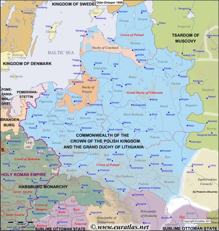 Map of the Oder-Dnieper Area in the year 1600