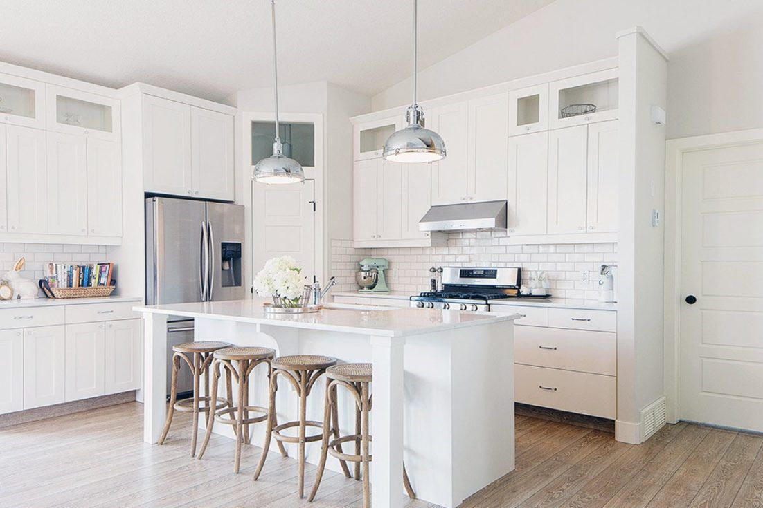 Small Kitchen With White Cabinets Design White Modern