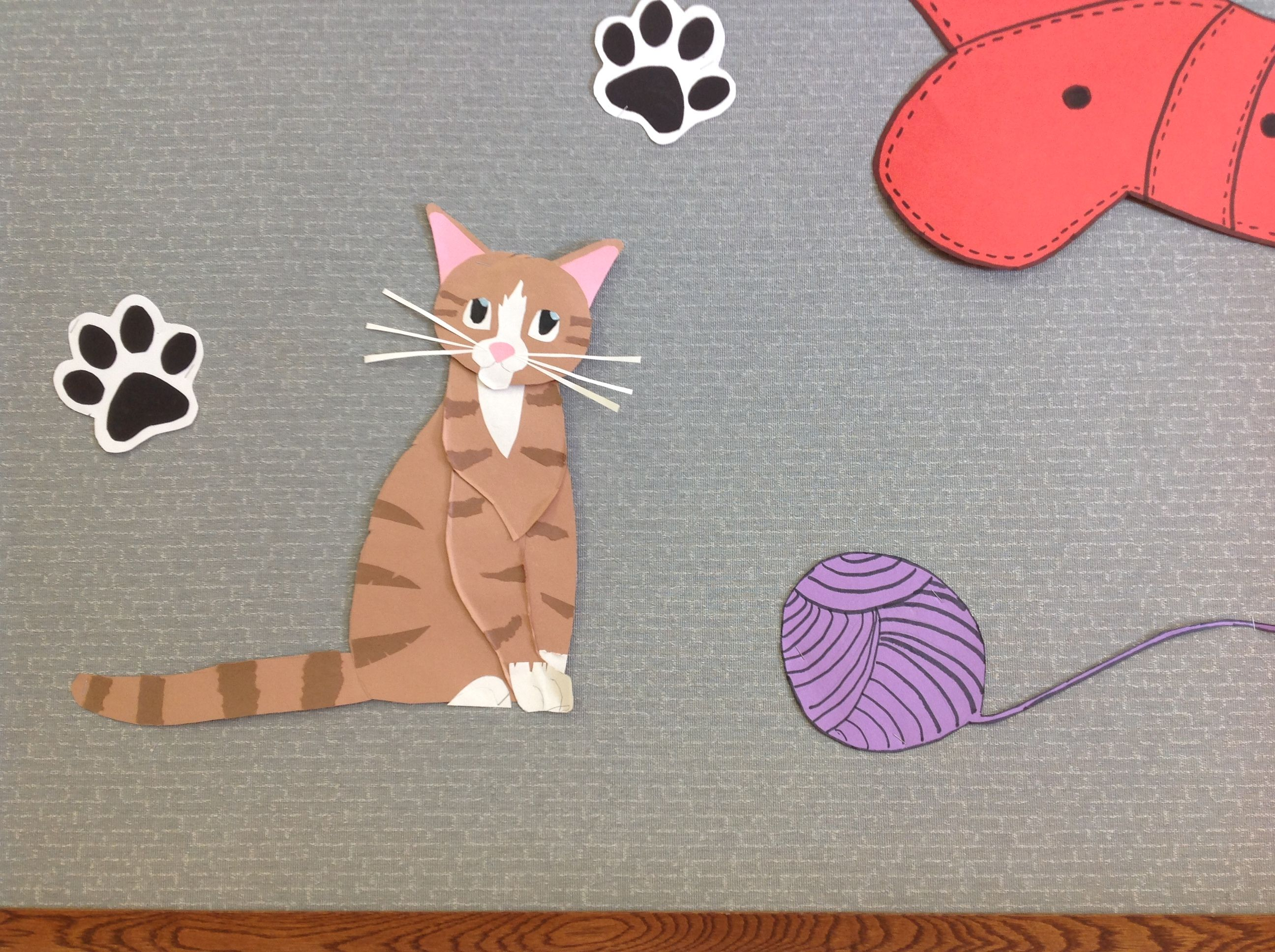 Construction Paper Cat Paw Prints And Ball Of Yarn For