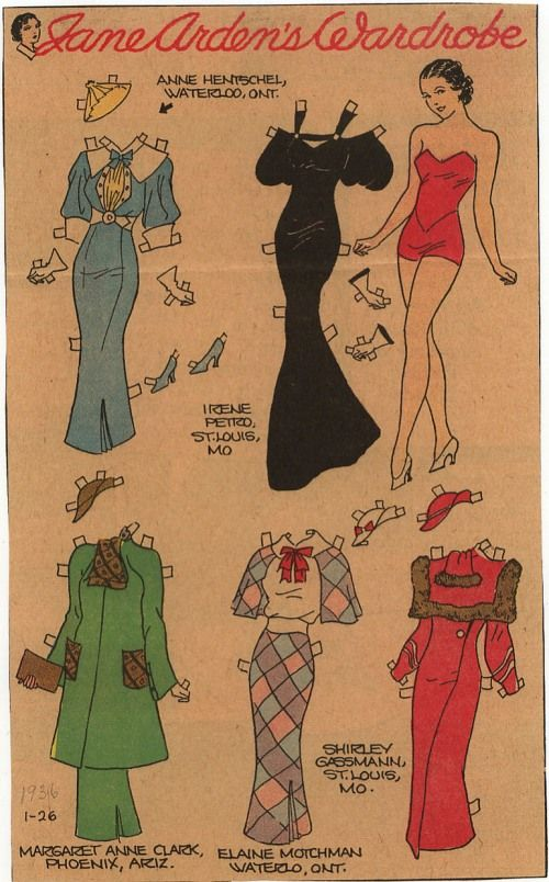Jane Arden Paper Doll - 1935-1938 | Gabi's Paper Dolls