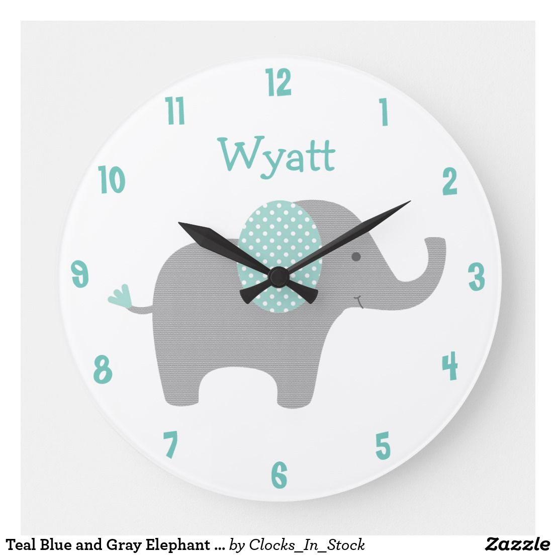 Teal Blue and Gray Elephant Nursery Wall Clock | Zazzle.com images