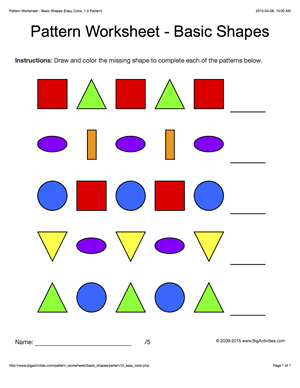 Pattern Worksheets For Kids Colored Basic Shapes 1 2 Pattern