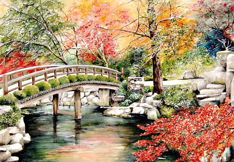 Marie-Claire Houmeau - Couleurs d'automne au Japon   Paysage chinois, Paysage manga, Paysage