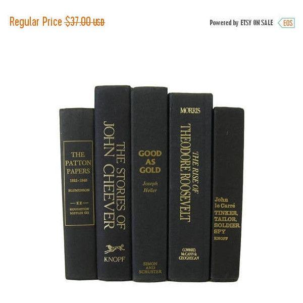 Fathers Day SALE Black Decorative Books Black Vintage Books Home ...